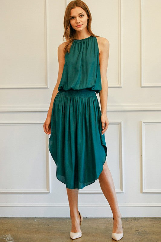 EMERALD SMOCKED WASIT MIDI DRESS