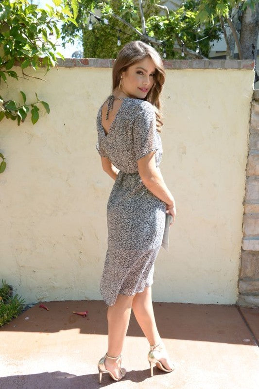 GREY LEOPARD MIDI V-NECK FRONT AND BACK DRESS