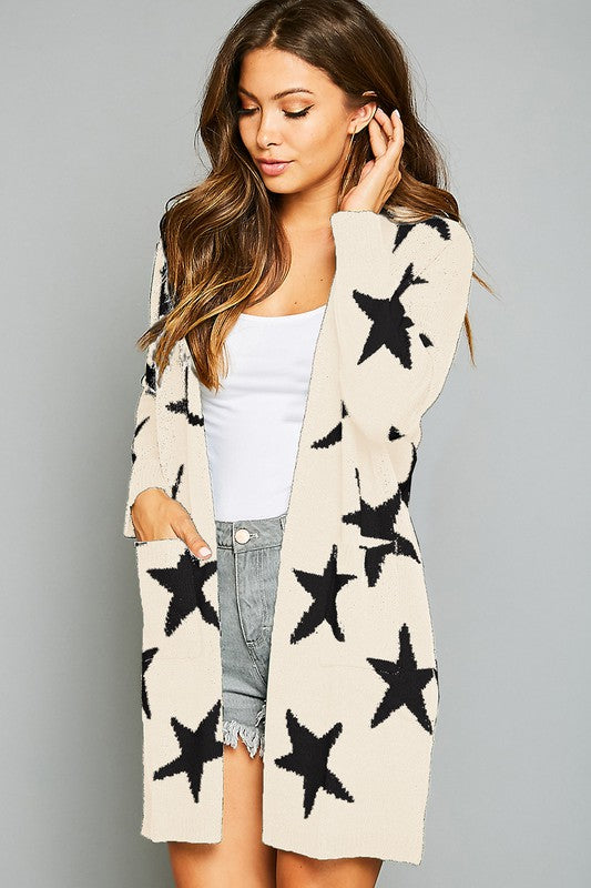 IVORY STAR PRINTED CARDIGAN WITH POCKETS