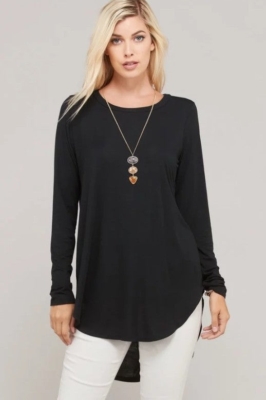 BLACK HI LO LONG SLEEVE BASIC TOP