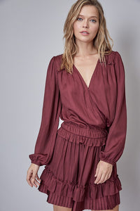 MERLOT PLEATED DETAIL LONG SLEEVE DRESS