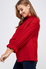 RED RUFFLE NECK TOP