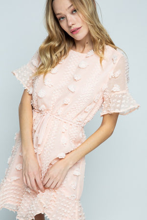 BLUSH POM POM RUFFLE HEM DRESS
