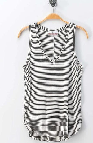 WHITE/BLACK VNECK SLEEVELESS TANK TOP