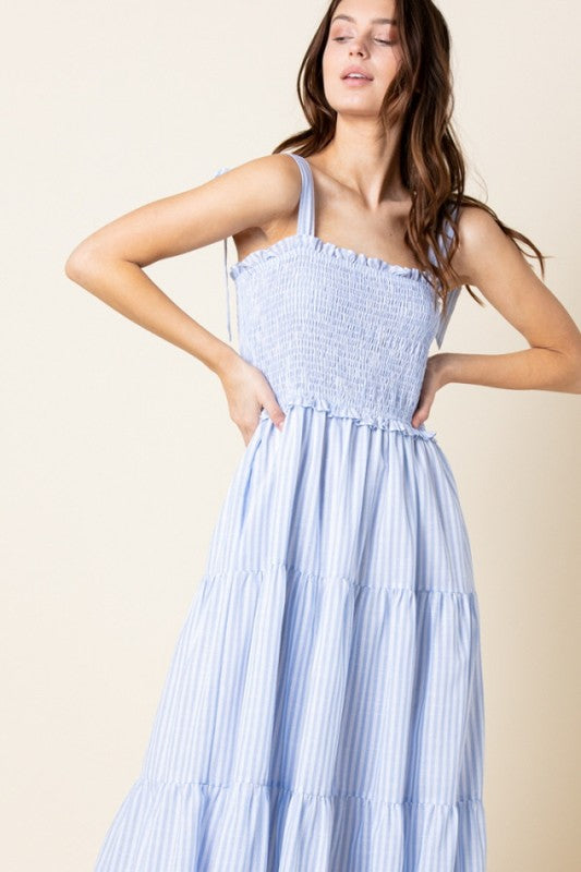BLUE STRIPE TIERED MAXI DRESS
