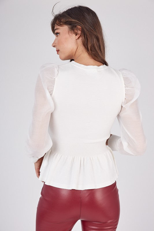 CREAM KNITTED TOP WITH ORGANZA PUFF SLEEVE