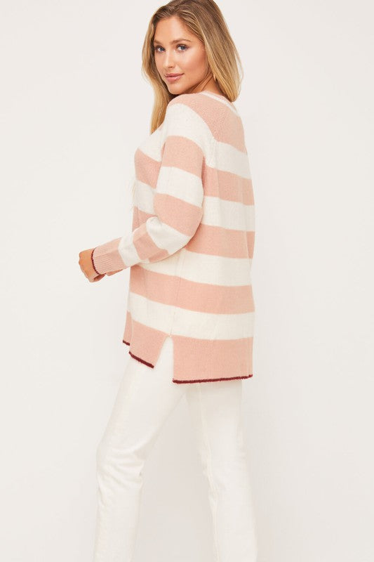MAUVE CREAM STRIPED SWEATER