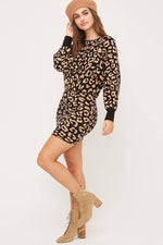 LEOPARD KNIT SWEATER DRESSS