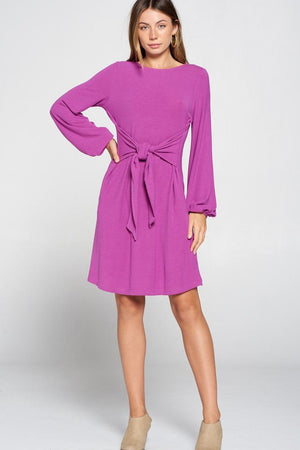 BERRY TIE WAIST KNIT DRESS W/ DRAPED PUFF SLEEVE