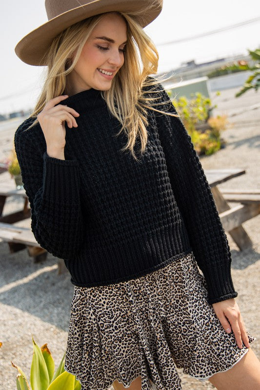 BLACK OPEN WEAVE SWEATER