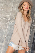 OATMEAL VNECK SWEATER WITH SEAM DETAIL