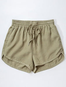 OLIVE TENCEL DRAWSTRING SHORTS