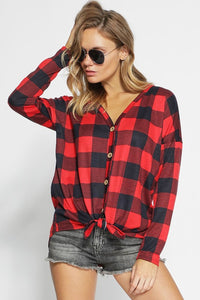 RED BLACK CHECKERED TIE FRONT TOP