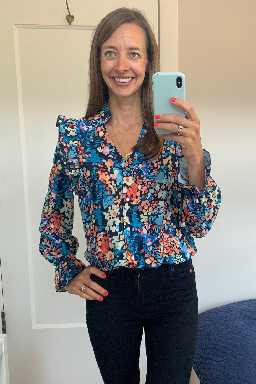 FLORAL BUTTON DOWN BLOUSE WITH RUFFLE DETAIL