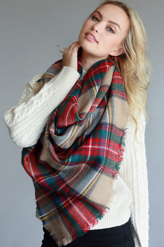 BEIGE RED & GREEN PLAID BLANKET SCARF