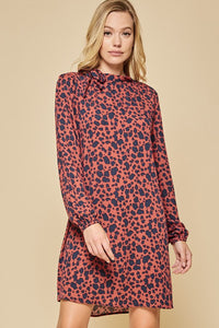 RUST AND NAVY SPOTTED LONG SLEEVE DRESS