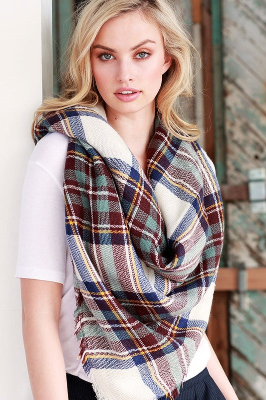 BURGUNDY NAVY & TEAL PLAID BLANKET SCARF