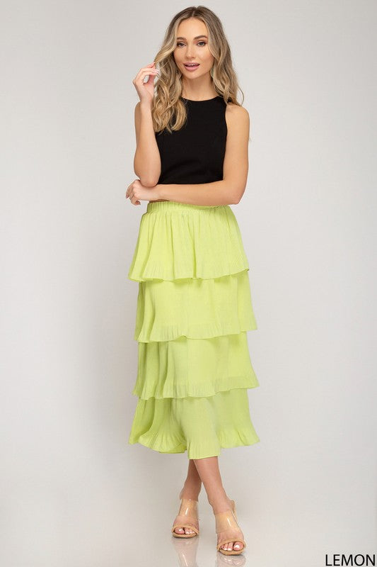 LEMON TIERED PLEATED MIDI SKIRT