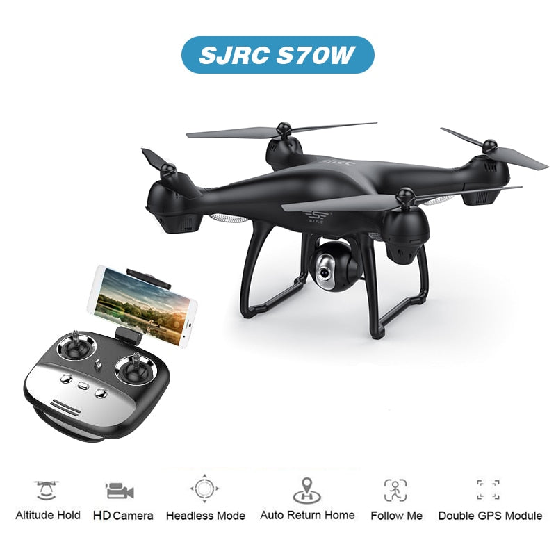 S70W GPS FPV Drone with 1080P HD FPV Wide-Angle Camera WiFi Live Video Follow Me GPS Return Home RC Quadcopter Racing Dron