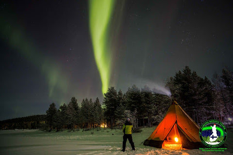 camping out underneath the northern lights