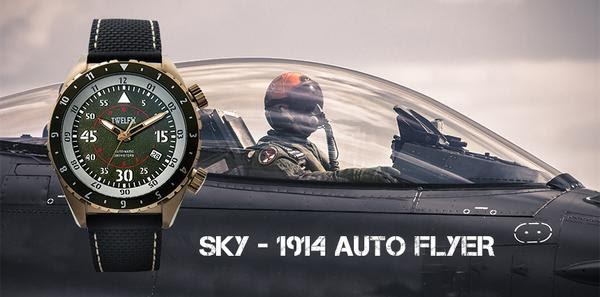 SKY Collection 1914 Auto Flyer, Multiple time zone watch, with pilot background