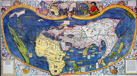 early 16th century map based on vespucci's travels