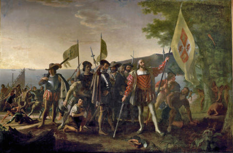Europeans conquering natives painting