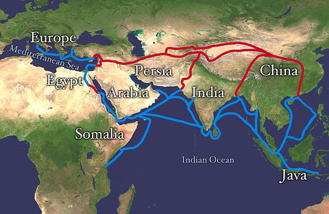 Trade routes used during the Silk Road