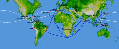 Map of Trade routes used over time