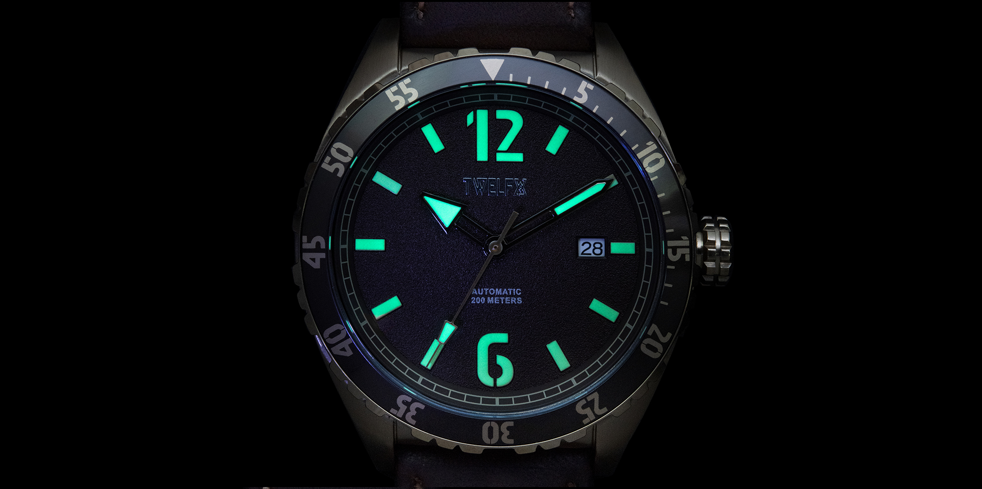 Twelfx Watch Lume Shot with Dark Background