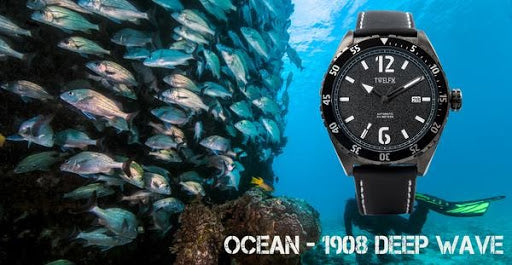 OCEAN Collection 1908 Deep Wave, Water Resistant Watch with underwater background