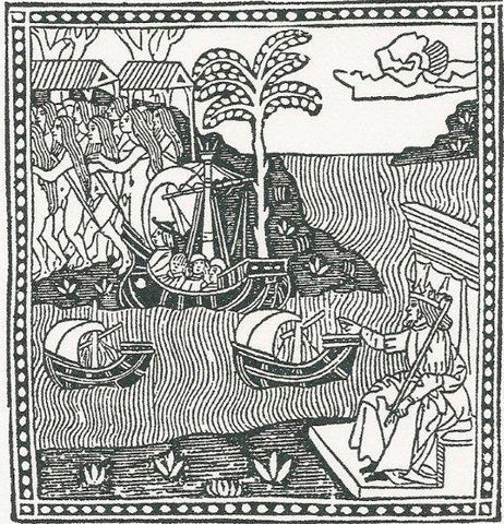 woodcut of vespucci arriving in the americas