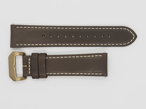 Brown Calf Leather Strap with Beige Stitching and Bronze Buckle Front