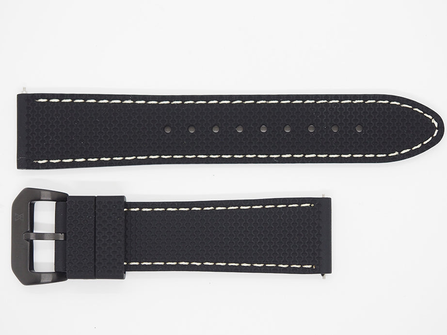 Black Silicone Strap with Beige Stitching and Black Buckle Front