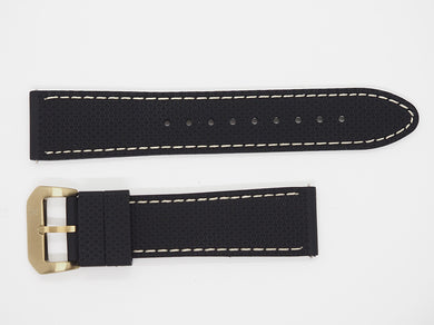 Black Silicone Strap with Beige Stitching and Bronze Buckle Front