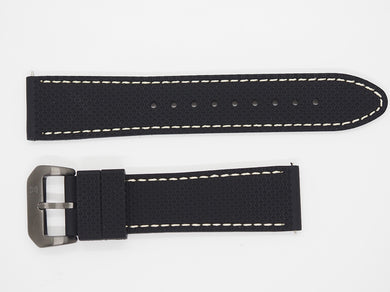 Black Silicone Strap with Beige Stitching and Gunmetal Buckle Front
