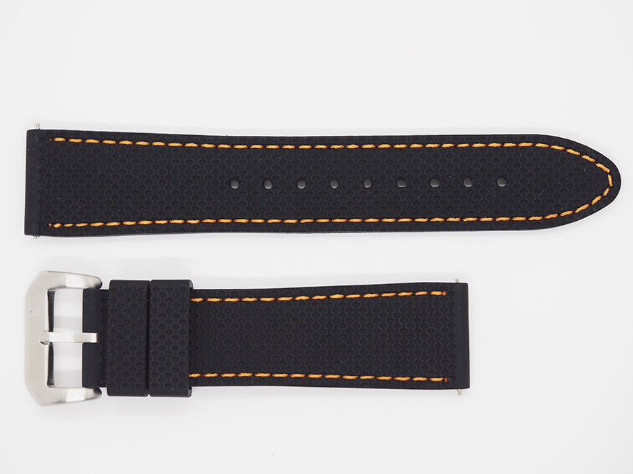 Black Silicone Strap with Orange Stitching and SS Buckle Front