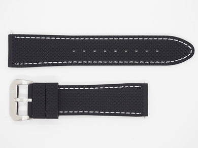 Black Silicone Strap with White Stitching and SS Buckle Front