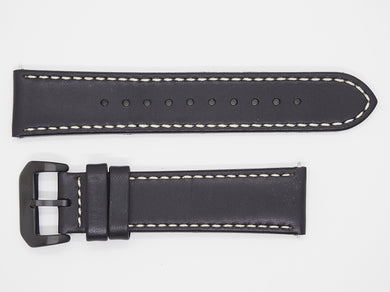 Black Calf Leather Strap with Beige Stitching and Black Buckle Front