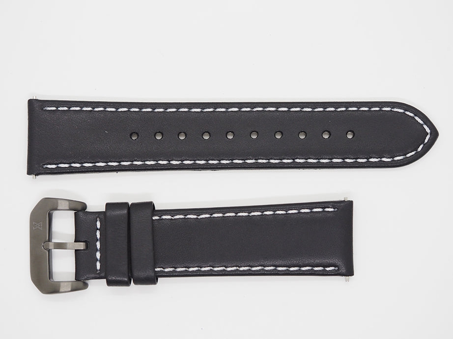 Black Calf Leather Strap with White Stitching and Gunmetal Buckle Front