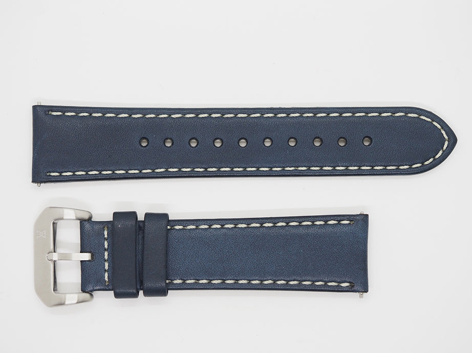 Blue Calf Leather Strap with Beige Stitching and SS Buckle Front