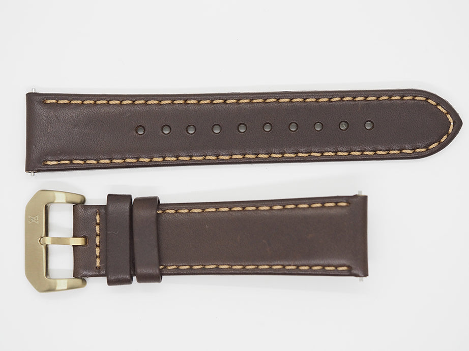 Dark Brown Calf Leather Strap with Brown Stitching and Bronze Buckle Front