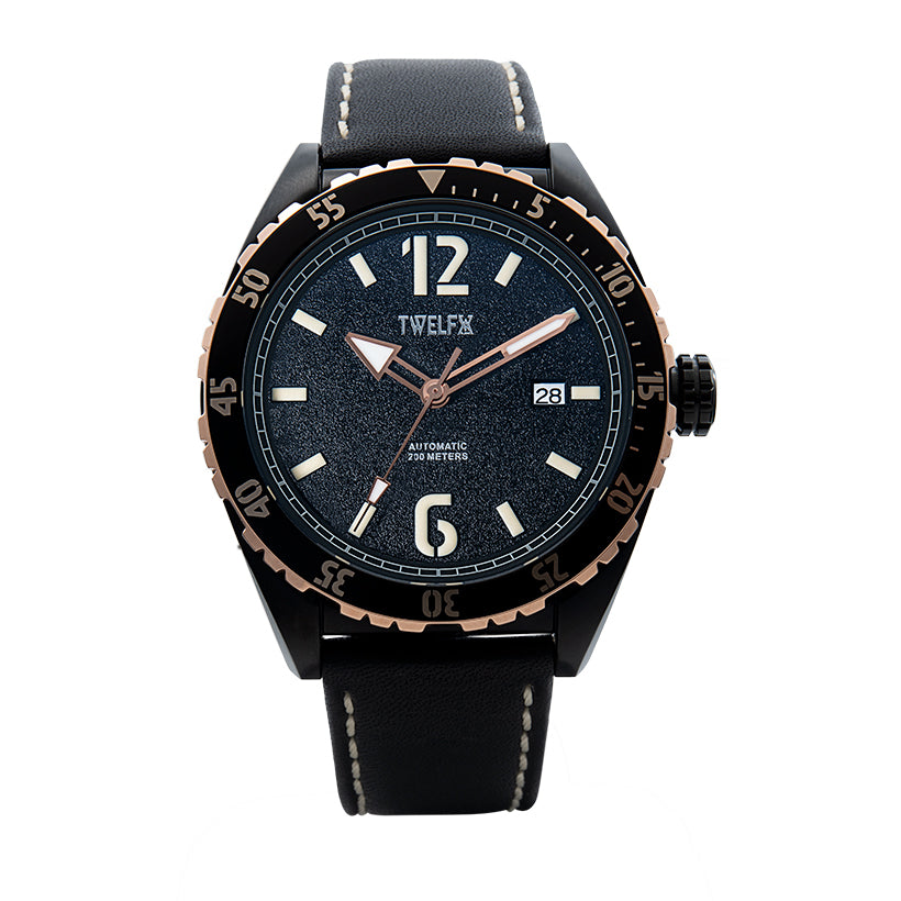 TWELF-X OCEAN 1908 DEEP WAVE - BLACK/ROSE GOLD Front