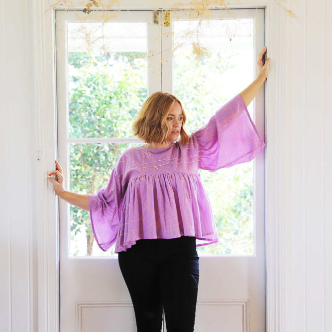 Atlas Pleated Top - Lilac