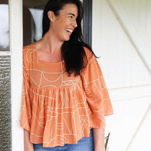 Atlas Pleated Top - Peach