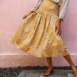 Rose Folk Skirt - Sand