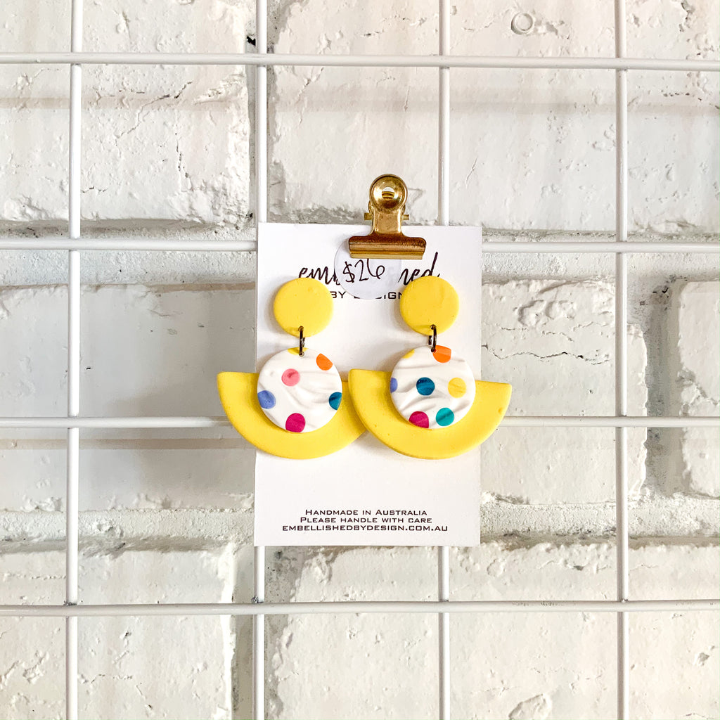 Lemon Poka Dangle Earrings