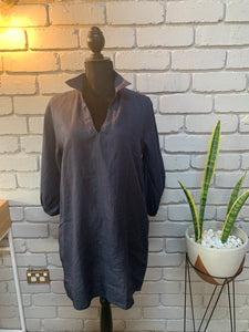 Uma Linen Dress - Navy
