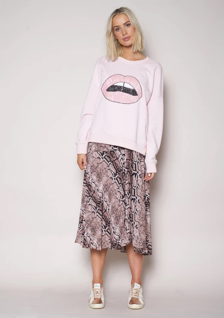 Slouchy Sweat - Dusty Pink with Sequin Lips