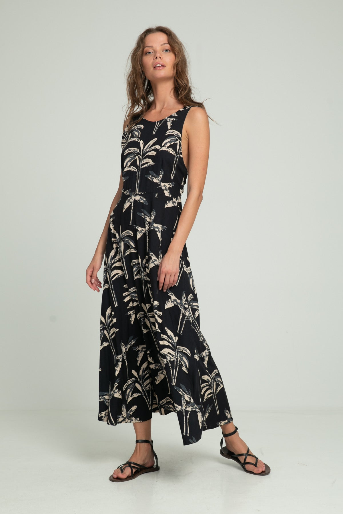 Waimea Maxi Dress - Black Banana Leaf Print